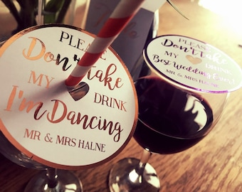Hot foil drink coasters 'please dont take my drink' set of wine  coasters