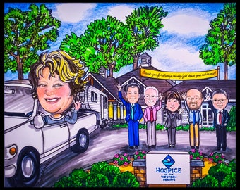 Custom caricature, retirement gift, retirement women, retirement men, nursing caricature , retirement caricature, military caricature