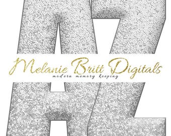 SILVER GLITTER ALPHABET, digital alphabet clipart, glitter letters and numbers, scrapbook alphabet, printable pdf, instant download