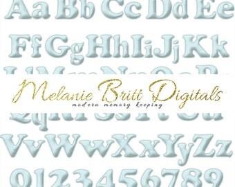 BLUE FELT Digital Alphabet, Baby Blue, Felt Letters, Felt Numbers, Felt Alphabet, Felt Clipart, Alphabet Clipart, Printable pdf