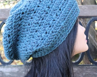 Teal heather slouchy hat for teen or adult