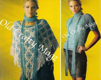 Crochet Pattern Set - Over the Top Set: Top & Scarf w/ Poncho (w/ Original Pages from Magazine)