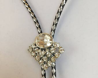 Vintage, Rhinestone Bolo. Metallic Cord, Bright Faux Diamond
