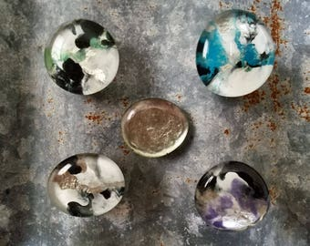 Handmade Glass Marble-Effect Nail Polish Magnets - Set of Five