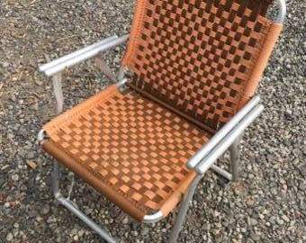 Nice 1960's Mid Century Modern Aluminum Framed Knit Chair.