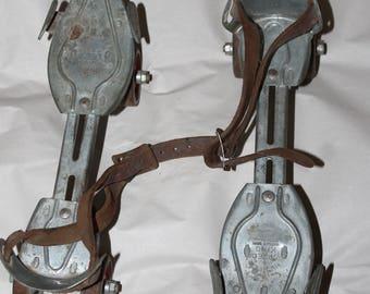 Vintage Hustler SPEED KING Silver Metal Roller Skates, Leather Straps, Name On The Skates, Still Usable, Great Shape Considering Vintage