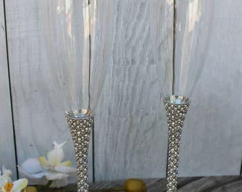 FAST SHIPPING!! Silver Swarovski Crystal Wedding toast Set, Champagne Glasses, Weeding Toasting flutes