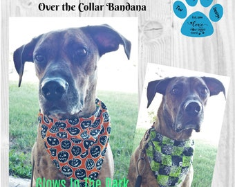 Glow In the Dark Pumpkins Dog Bandana, Spiders Dog Bandana, Halloween Dog Bandana, Over the Collar Bandana, Puppy, Reversible Bandana