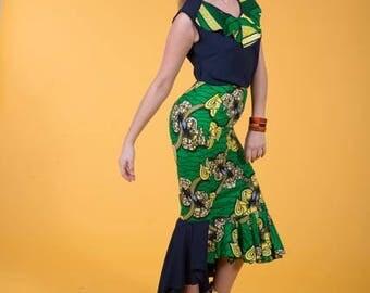 African Print Mermaid Skirt