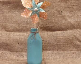 Teal Large Plain Dairy Bottle - Chalk Painted - Rustic Distressed - Pinwheels - End of Summer Sale