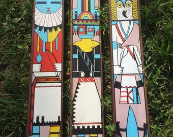 Hopi Artwork, Hopi Kachina Paintings, Great Horned Owl Kachina, Sunface Katchina, Hemis Katchina, Hopi Crafts, Hopi Kachinas