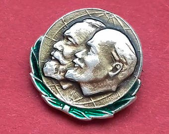 Lenin, Marx. Vintage collectible badge, Pin, Russia, Soviet Union, Made in USSR, 1970s