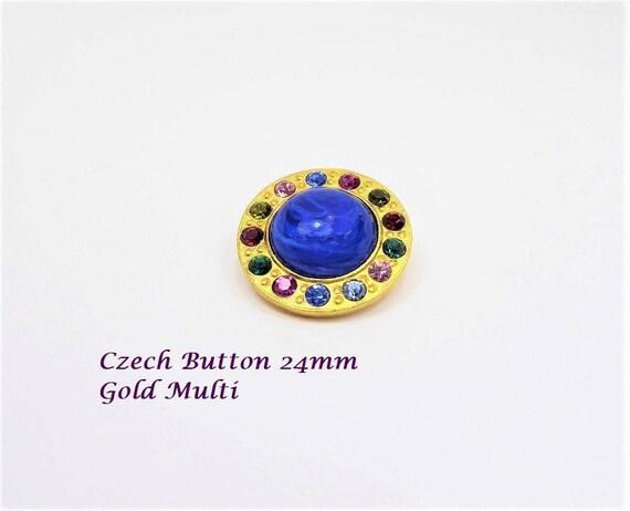 Czech Button Gold Multi 24mm