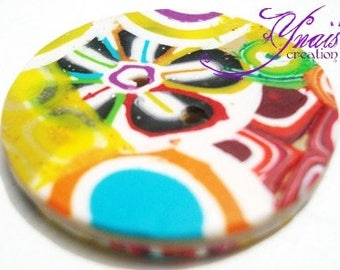 multicolored polymer clay button