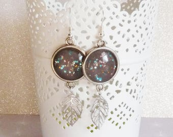 Earrings ' earrings Silver 925 leaf charms, cabochon taupe with glitter