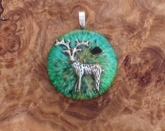 Green Forest Magic Deer Harmonized Crystal Ormus Orgone Energy Unisex Pendant Necklace 25mm Solstice Equinox Beltane Abundance Antlers Horns