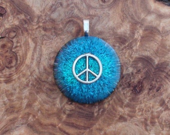 Indigo Blue Peace Sign Symbol Harmonized Crystal Ormus Orgone Energy Unisex Pendant Necklace 25mm Abundance Friendship Love Luck Happiness