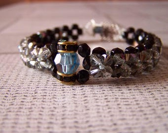 Black and grey swarovski crystal beaded bracelet