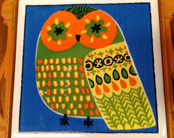 Vintage 1970's Owl Trivet Made by Cherry