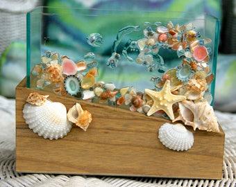 Succulent Planter With Seashells, Succulent Arrangement Container, Glass Vase for Coastal Decor, Flower Vase, Pencil Holder for Beach Decor