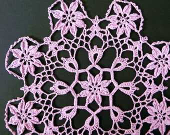 Purple Crochet Doily - Purple Flower Doily - Floral Motifs - Crochet Centerpiece - Doily Decor - Intricate Doily - Crochet Flowers - Doily