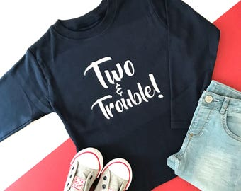 Two & Trouble Second Birthday Outfit Girl | Girls 2nd Birthday Outfits | Toddler Birthday Outfit | Two and Trouble