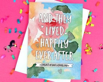 Happily Ever After Floral Card - Wedding Congratulations - Wedding Card - On Your Wedding Day - To The Bride & Groom