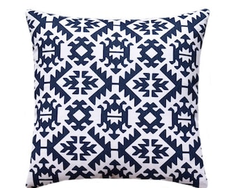 SALE READY TO Ship Aztec Pillow Cover, Navy White Pillow, Tribal Toss Pillow, Pawnee Navy Pillow, Boho Pillow Cover, Navy Zippered Pillow Ca