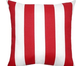 SALE Red Outdoor Pillows, Striped Decorative Outdoor Pillows, Red Outdoor Throw Pillows, Patio Pillows, Patio Decor, Red and White Pillow Co
