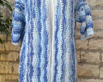 hand crocheted blue vest