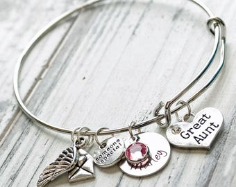 Great Aunt Personalized Hand Stamped Adjustable Wire Bangle Bracelet