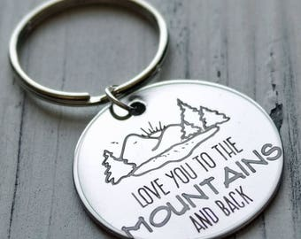 I Love You to the Mountains and Back Personalized Key Chain - Engraved