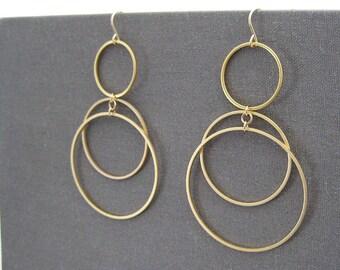 Gold Multi Hoop Earrings - 3 Circle Earrings, Dangle Hoops, Office Jewelry - Sunrise
