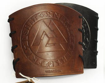 Viking Leather Bracers (Pair) Valknut Futhark