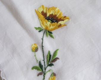 Vintage Handkerchief with a Single Yellow Poppy