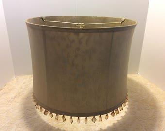 Vintage Silk Lamp Shade with Beaded Fringe, Boudoir Table Lamp Shade, Shabby Chic Decor