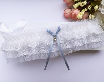 White something blue wedding garter, tulle garter, white garter, bridal garter, lingerie