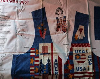 4th July Patriotic American Vest Fabric Panel DreamSpinners Uncle Sam Summer Starts Stripes USA Flag
