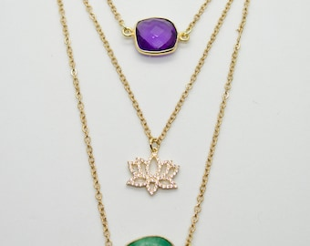Triple Layered Amethyst & Jade Lotus Necklace