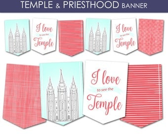 Temple and Priesthood Preparation Banner - LDS Primary 2018 PRINTABLE Pennant Flags Decorations Decor Annual Presentation Meeting Girl Boy