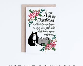 Printable Christmas Greeting Cards, Funny Tuxedo Cat Christmas Poem Cards, Cute Tabby Cat Illustration Card DIY, Christmas Digital Downloads