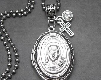 St. Catherine Catholic Holy Medal Locket Necklace, Jewelry, Catholic Gift, Confirmation Gift