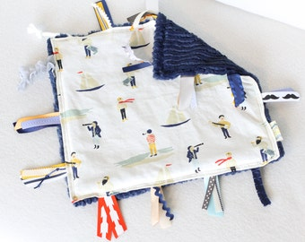 Tag Blanket, Sensory Blanket, Baby Boy Tag Blanket, Baby Boy Sensory Blanket, Baby Boy Nautical Blanket, Nautical Minky Blanket, Mustache