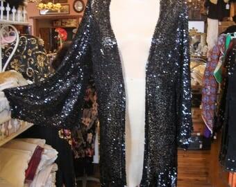 Vintage Antique 1920's Black Sequin Flapper Evening Coat Jacket * XXS-XS-S