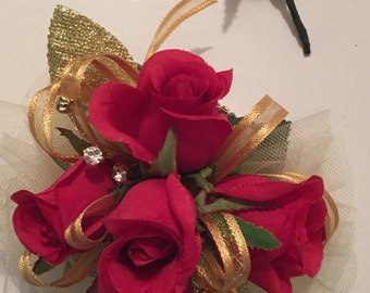 Homecoming Corsage, Red and Gold Silk Wrist Corsage, Golden Anniversary Silk Wrist Corsage