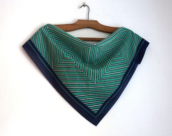Green and white cotton small square scarf, geometric print with navy blue border kerchief, vintage fashion accessories
