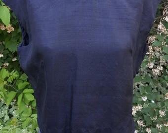Black Silk Vintage Julius Garfinkle & Co Washington Blouse 1950s 50s Blousecraft