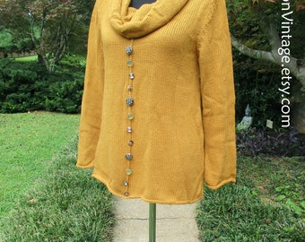 VINTAGE SWEATER, Handknit Cowlneck Sweater, Knit Tunic Top, Vintage 90s Boho, whimsical mismatched BUTTONS! cozy Autumn sweater ochre yellow