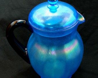 Vintage fenton pitcher-old fenton celeste blue pitcher-vintage fenton glass-rare old fenton glass pitcher-fenton stretch glass pitcher
