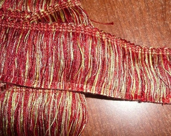 2  Yards 2 Inch Red Variegated Brush Trim
